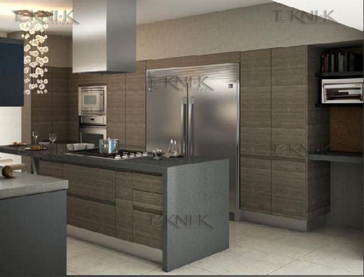 Cocina moderna con puerta panel laminado de importaci n - Luz led cocina ...
