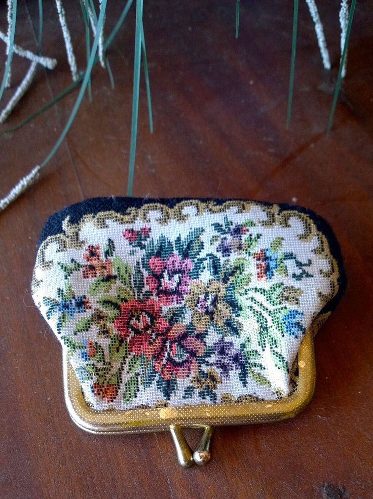 Tapestry Petit Point Coin Purse - Small: Gold Clasp by TheBusyTipsyGipsy on Etsy