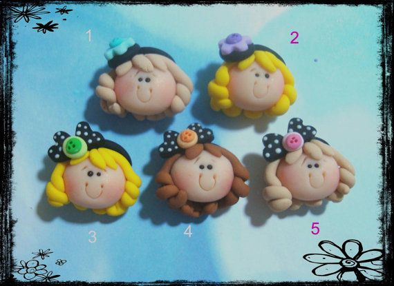 Girl with Headband Polymer Clay Charm Bead, Scrapbooking, Bow Center, Pendant, Cupcake topper, Magnet