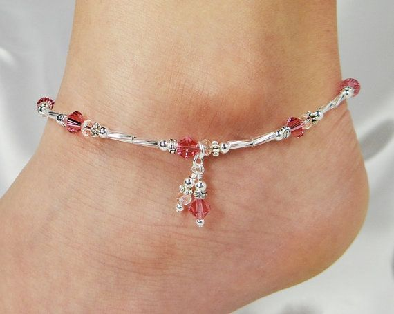 Anklet Ankle Bracelet Rose Pink Anklet Double by ABeadApartJewelry