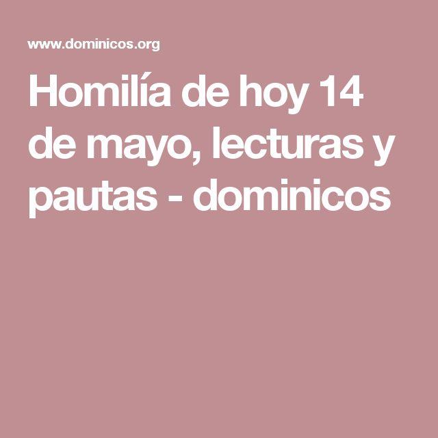 Homilía de hoy 14 de mayo, lecturas y pautas  - dominicos