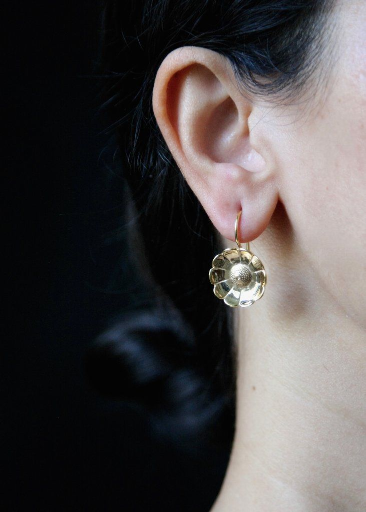 Gold plated, buttercup flower Victorian earrings [PB-10451