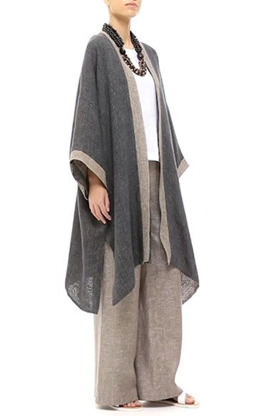 Eskandar two tone loose linen coat with long pants.