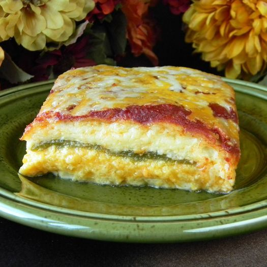 Chile Rellenos Casserole  I used roasted and peeled poblano peppers and chihuahua cheese instead