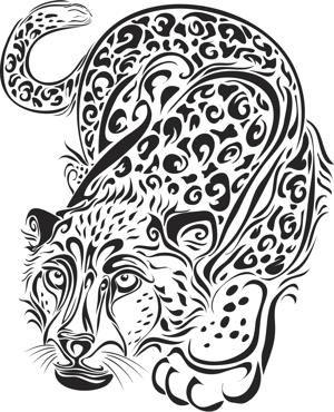 Tribal Animal Tattoos - Leopard