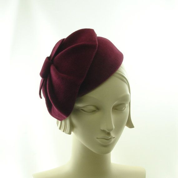 Burgundy Wine Pillbox Hat for Women 1930s by TheMillineryShop