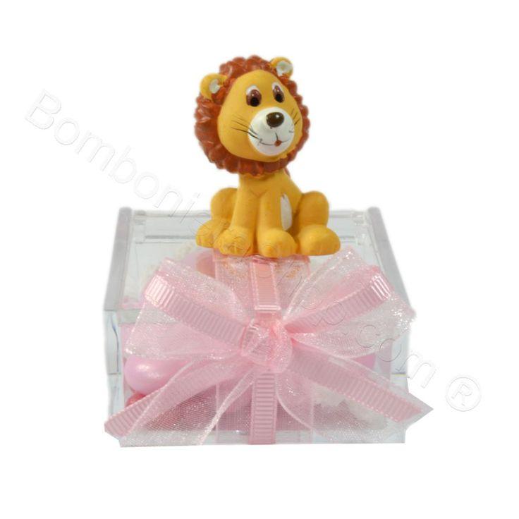 Animaletti Grandi della Savana confezionati su plexiglass decorata rosa il prezzo è unitario #animali #bomboniera #scatolina #plexiglass #nascita