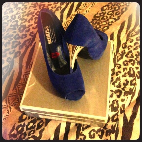 Blue heels Worn once but still new looking whith silver heel Shoes Heels