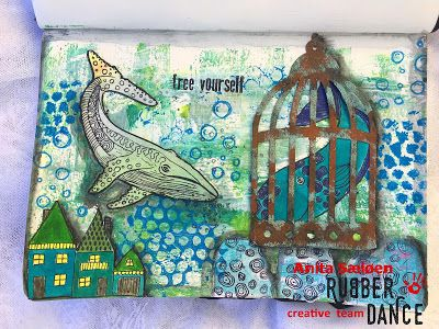 * Rubber Dance Blog *: Mixed Media Art Journal Page with Whale Stamps