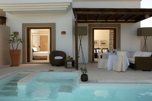 Lindian Village-River Passage Pool Suite, boutique hotel in Rhodes with luxurious interior, set on a private beach with two local villages close by.
