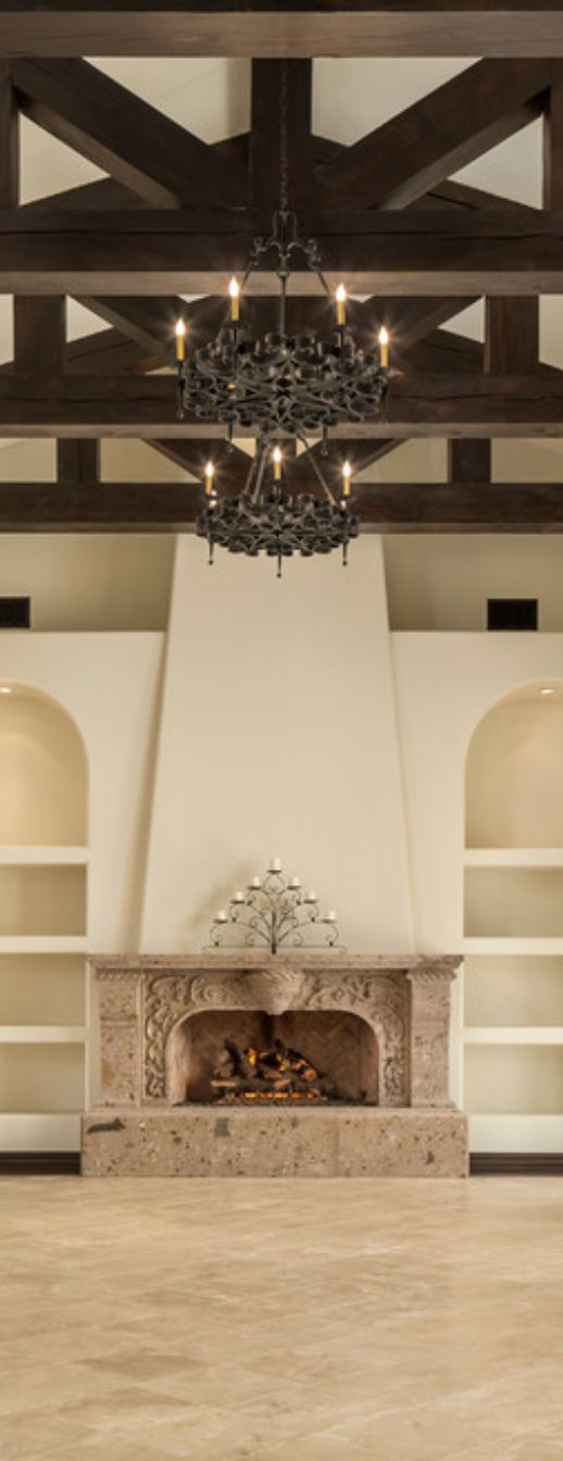 Great beams, chandeliers & fireplace Old World, Mediterranean, Italian, Spanish & Tuscan Homes Design & Decor