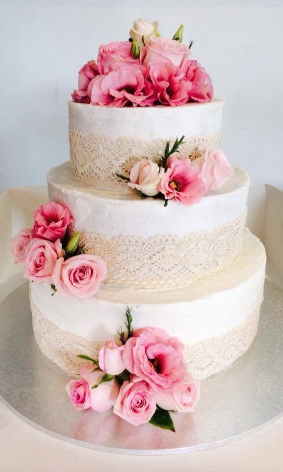 Lace wedding cake. But with fondant lace.