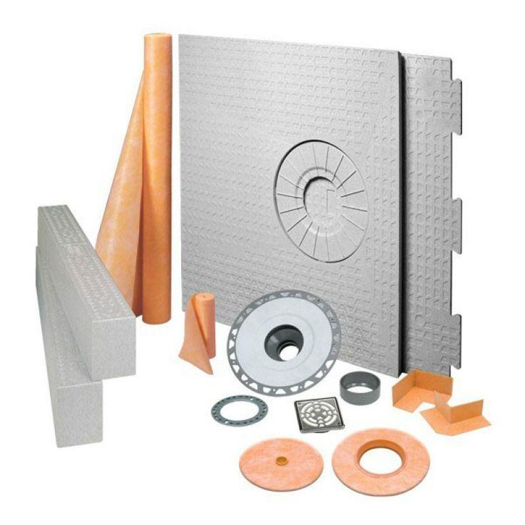 """KERDI-SHOWER-KIT 32"""" x 60"""" Off Center Drain Tray Stainless Steel - PVC Flange"""