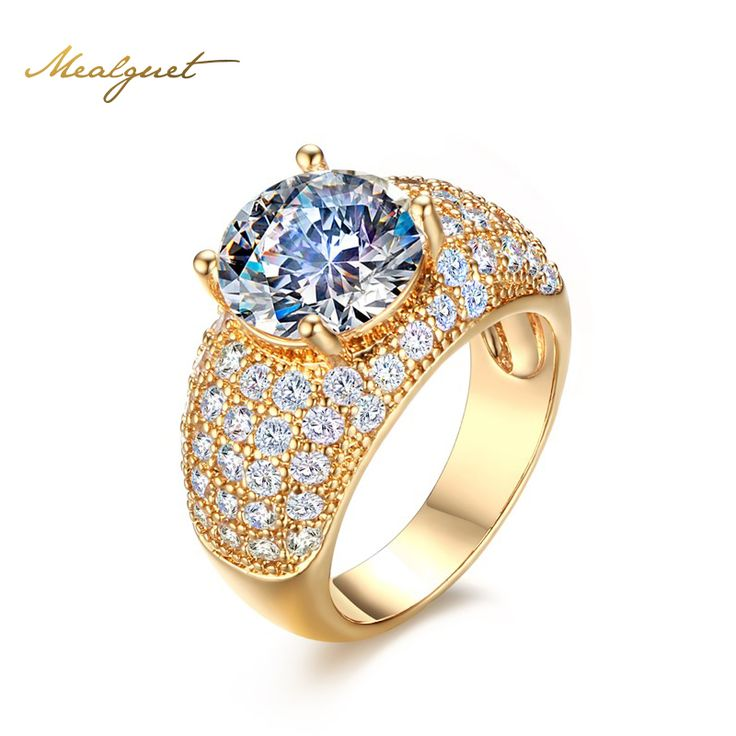 Meaeguet Vintage Simulated Diamond Rings For Women Wedding Jewelry Gold Plated Big Round Finger Ring