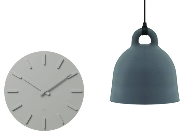 A grey clock designed by Naoko Fukasawa, Asplund, and the Bell lamp by Normann Copenhagen
