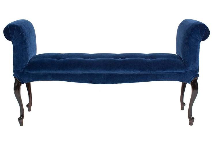 Royal blue velvet scroll arm bench for our bedroom for Blue velvet chaise lounge