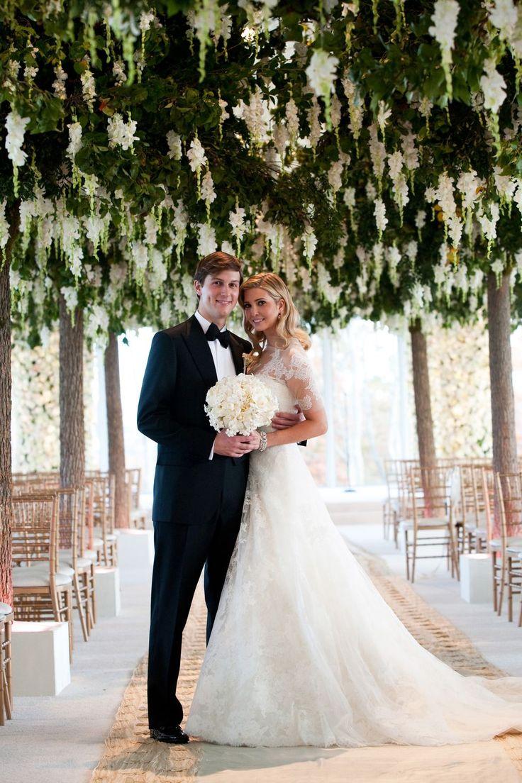 Ivanka Trump married Jared Kushner in custom Vera Wang, 2009.