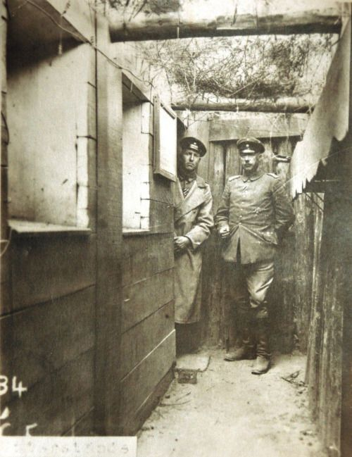 WW1. Wood trench — German army headquarters or communications trench near the rear lines, France