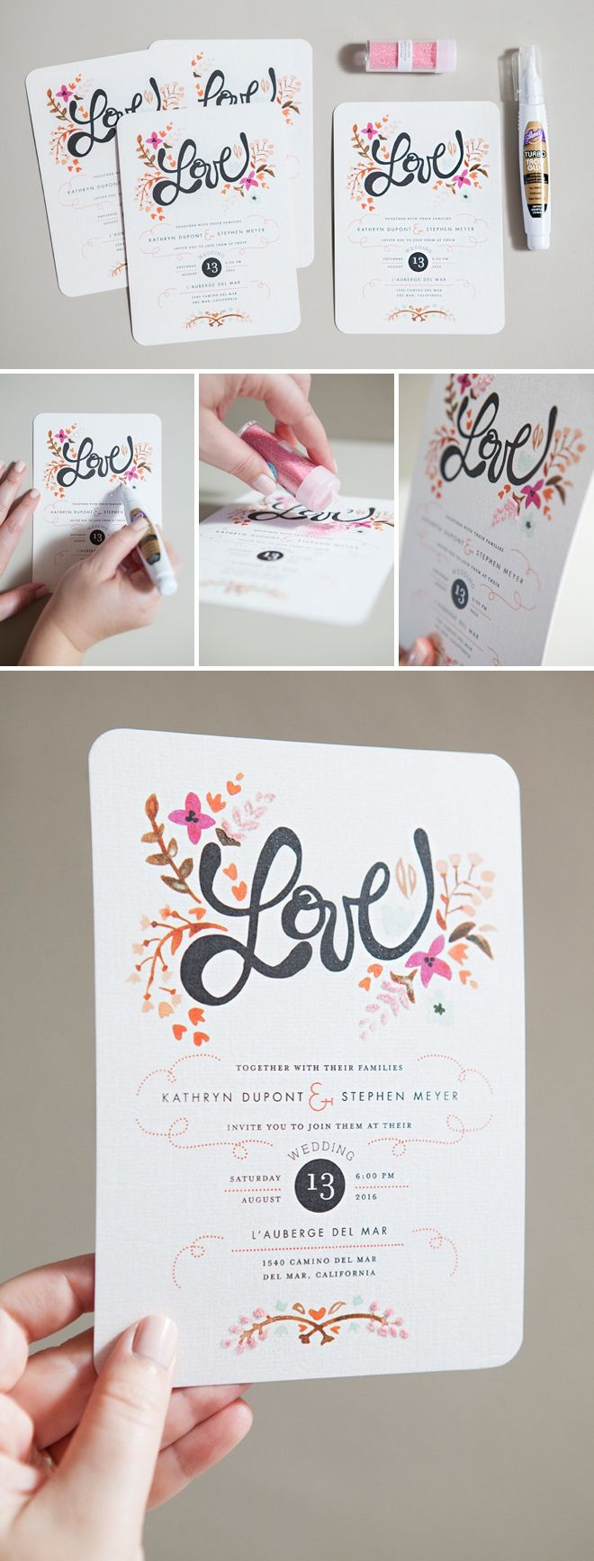 DIY Wedding // How to hand glitter 'store bought' wedding invitations!