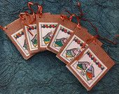 set of 6 original hand painted madhubani gift tags , madhubani paintings , handmade stationary , gift tags   $42.00 USD