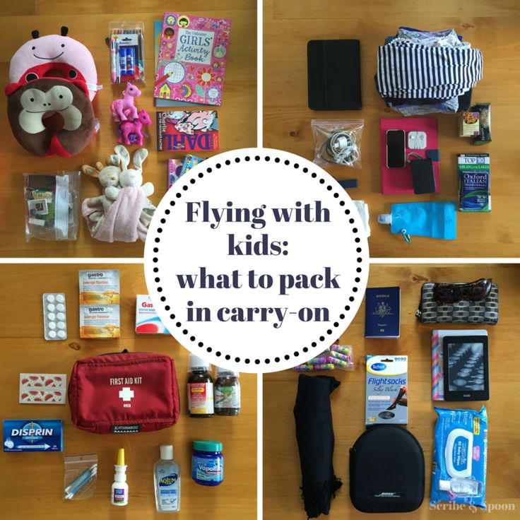 Wondering what to pack in carry-on for a long-haul flight with kids? Have a peek inside our three bags, plus what I take in our first-aid kit.