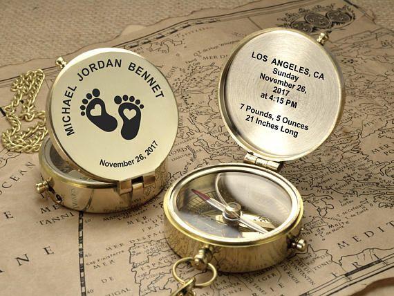 Personalisierte Kompass Gravierte Kompass Baby Dusche