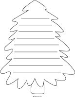 christmas shape paper tree with lines - Christmas Writing Pages