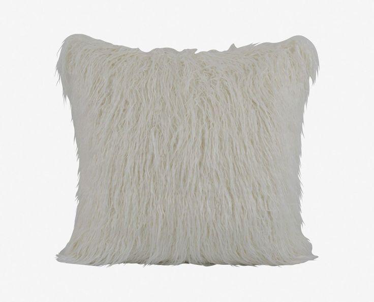 Boras 26 X 26 Mongolian Fur Pillow - White