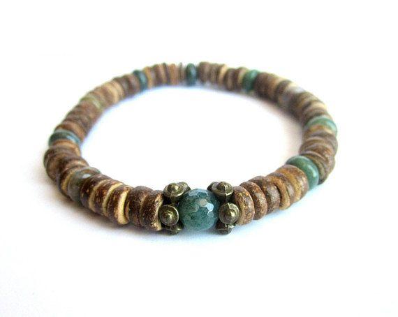 Mens coconut bracelet stretch bracelet wood bead bracelet