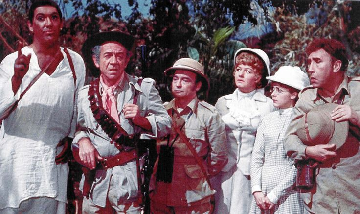 Bernard Bresslaw, Sid James, Kenneth Connor, Joan Sims, Jacki Piper and Frankie Howerd in Up the Jungle