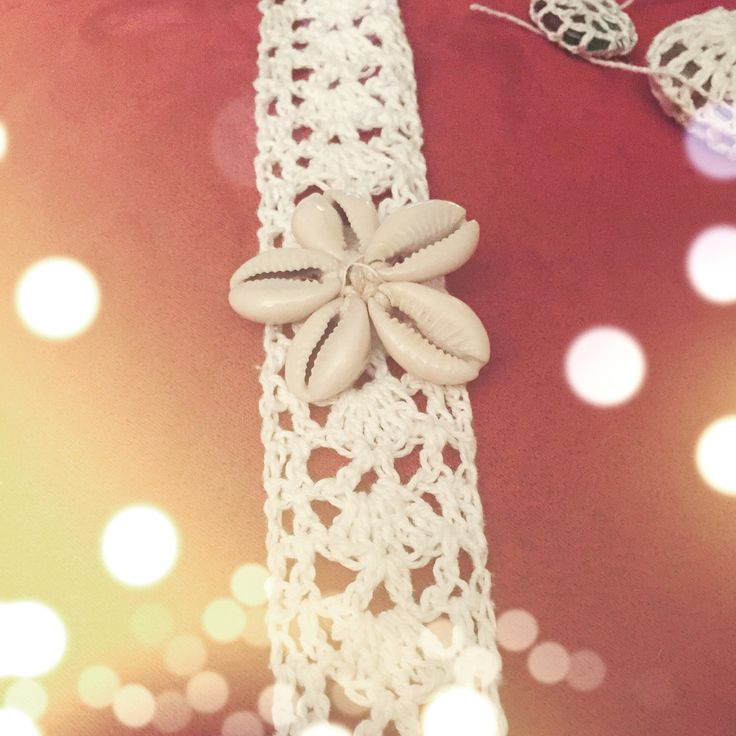 Crochet lace and cowrie shell cuff