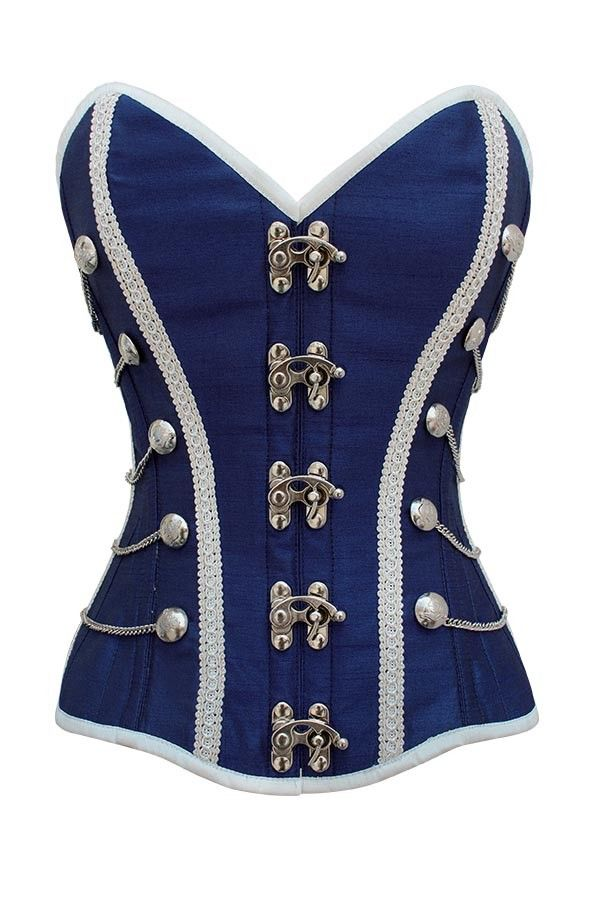 Distinctive and versatile, this stylish blue military-inspired steel-boned corset features a gorgeous silvery trim and vintage, Victorian-style clasps. Its unique look makes it a splendid choice for themed cosplay or fancy dress, but it's fun and fashionable enough to be worn to almost any kind of party or special occasion.  Expertly tailored and both steel-boned and cotton lined for body shaping and corset, this will make a superb addition to almost any wardrobe.
