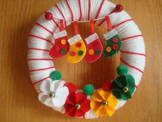 christmas stockings wreath $30