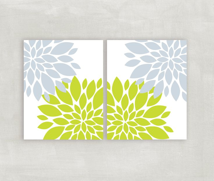 Blue Grey Lime Green wall art Floral burst home decor Flowers Dahlia pictures Bedroom wall art Modern bathroom wall art 2 8x10 prints UNFRAMED. The color is a bluish gray shade and lime green. The set comes unframed. I actually have them in my bathroom framed in an offwhite matted frame and it looks gorgeous. I have included a color chart if you wish to change the colors to match your decor.
