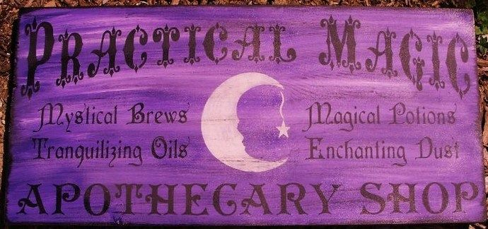 Witchcraft Practical magic apothecary shop witches primitive witch signs halloween sign Primitives Wicca Pagan decorations magick folk art by SleepyHollowPrims, $55.00 USD