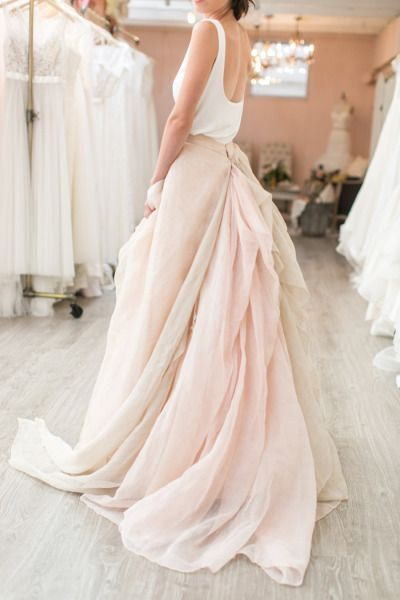 Designer Trade Chiffon Wedding Skirt with Bustle Ivory and Blush Full Length