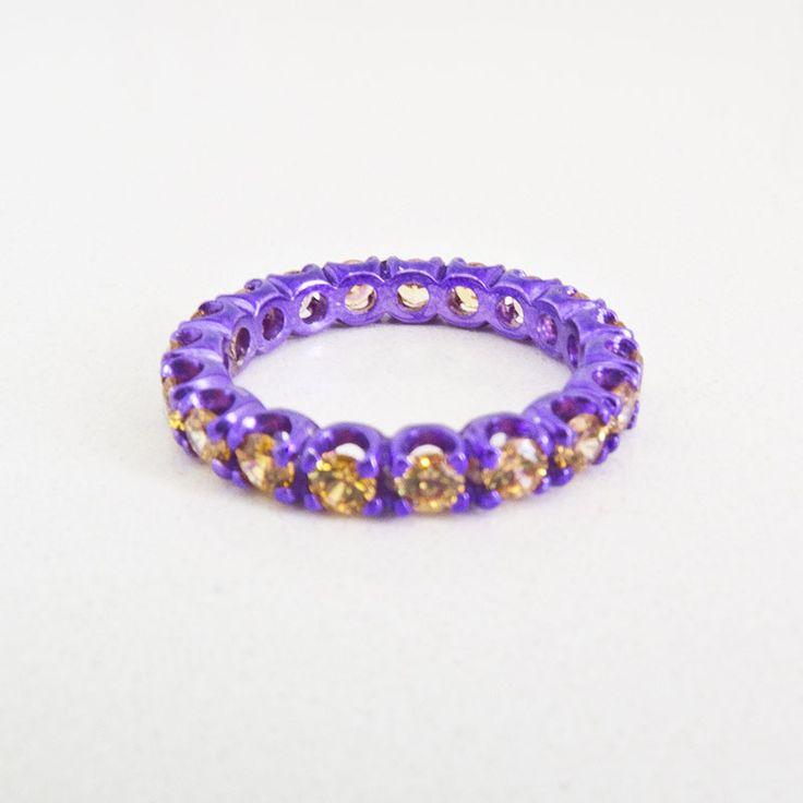 Purple cataforesi & yellow swarovski ring  $265.00- Margaux Wenger Bijoux
