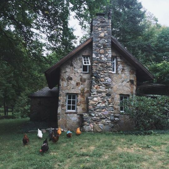 This stone cabin is a perfect retreat or full time home. via The Art of Slow Living