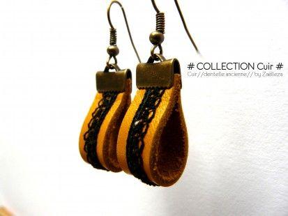 """Boucles d'oreille """"Cuir / Dentelle ancienne """" n°215 : Bijoux par zaelleza sur Alittlemarket"""