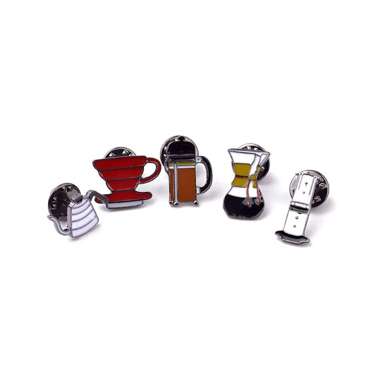 1Set Lapel Pins Brooches For Women Coffee Tools Filter Pot Enamel Pins Collar Shirt Bag Hat Jewelry Coffee Lovers Memorial Gifts #Affiliate