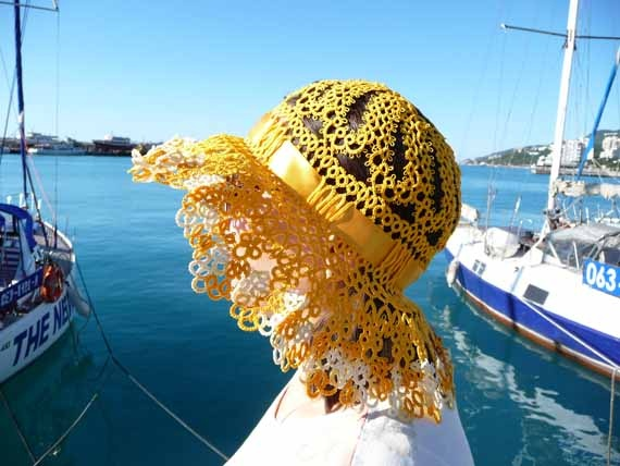 Summer hat tatting - Marine.