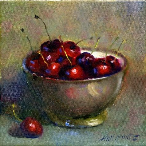 Still Life Paintings of Cherries | cherries_in_silver_bowl_8_x8_oil_canvas_food_and_drink__still_life ...