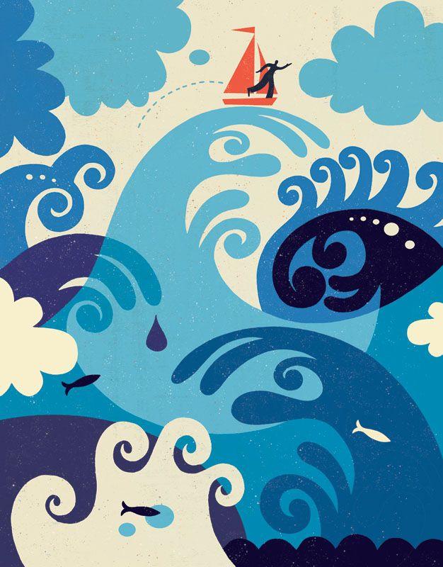 Tracy Walker illustration graphic design Land of Nod animals sailboat ocean