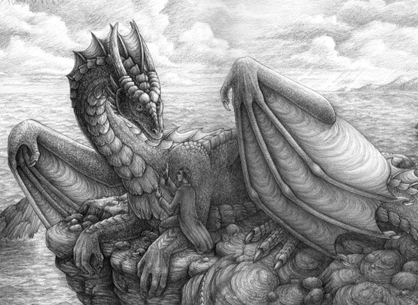 Превосходные рисунки драконов простым карандашом