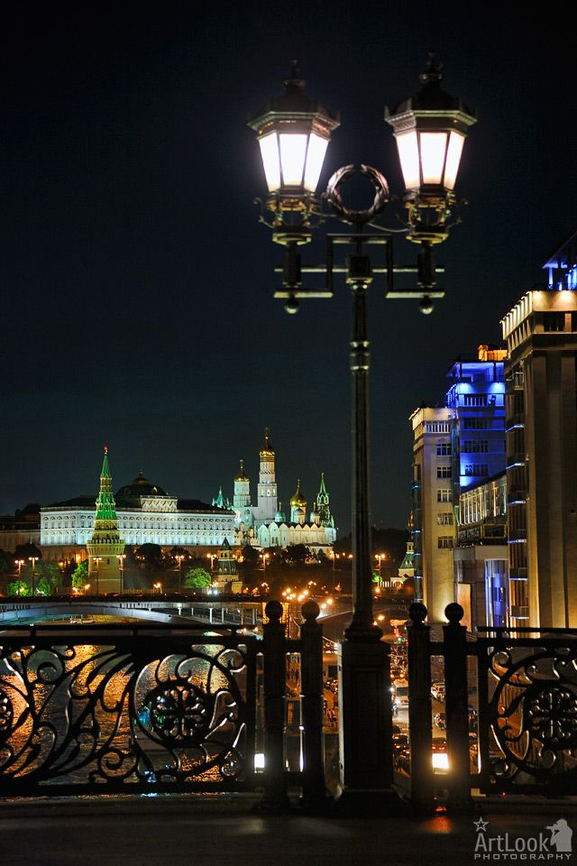 Map Of Russia With City Names%0A Lights of Patriarchy Bridge at Night  Moscow  Russia