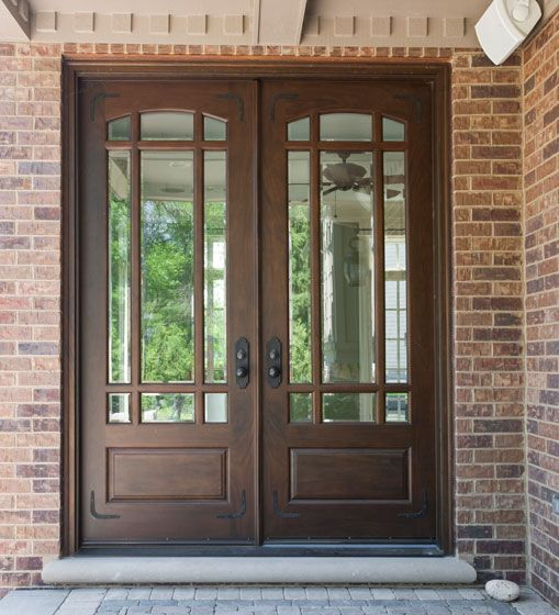 Doors: Varnished Wooden And Mirror Double Front Entry Doors Exterior With Double Bronze Door Knob And Sidelights Also Painted Wood Wall Exterior Design from Great Home on the Double Front Entry Doors
