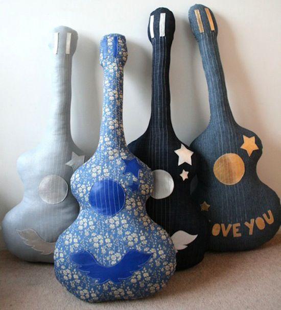 DIY Little rockstar guitar cushions.: Ideas, Cute Pillows, Birthday Parties, Handmade Guitar, Guitar Pillows, Guitar Cushions, Baby Rooms, Style File, Kids Rooms