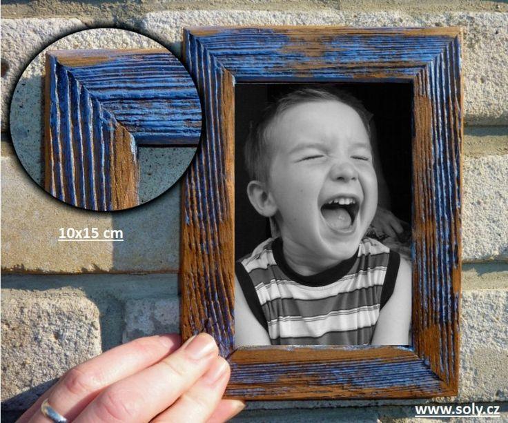 Modrý fotorámeček 10x15 cm - dekorační provedení