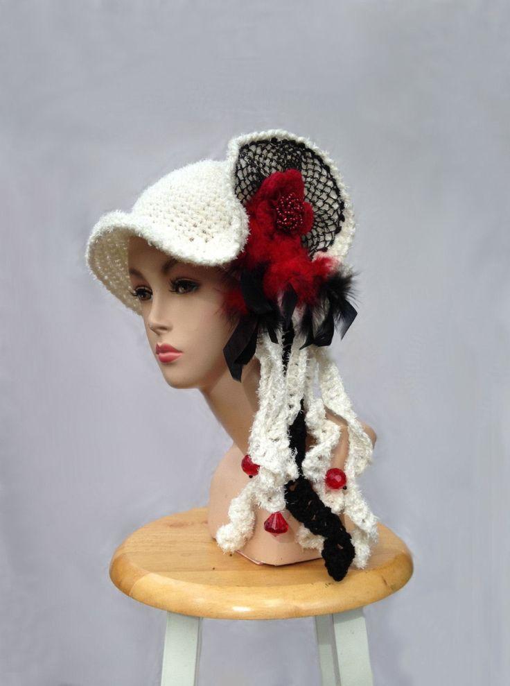 Unique designer hat white hat art to wear creative crochet hat for women statement hat freeform hat millinery cloche bucket dressy hat by Iryna on Etsy