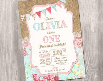 Invitación de cumpleaños Chic Shabby por RachellesPrintables